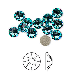 flat back, swarovski crystal rhinestone, crystal passions, light turquoise, foil back, 6.32-6.5mm xirius rose (2088), ss30. sold per pkg of 12.