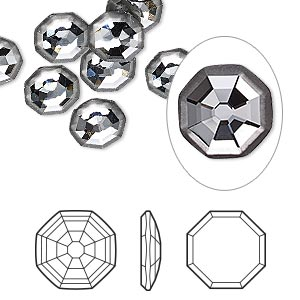 flat back, swarovski crystal rhinestone, crystal passions, partially frosted crystal silver night, foil back, 8mm solaris (2611/g). sold per pkg of 24.