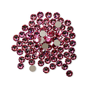 flat back, swarovski crystal rhinestone, crystal passions, rose, foil back, 3-3.2mm xirius rose (2088), ss12. sold per pkg of 12.