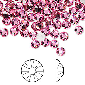 flat back, swarovski crystal rhinestone, crystal passions, rose, foil back, 4.6-4.8mm xirius rose (2088), ss20. sold per pkg of 144 (1 gross).