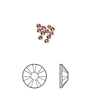 flat back, swarovski crystal rhinestone, crystal passions, rose peach, foil back, 2.1-2.3mm xilion rose (2058), ss7. sold per pkg of 12.
