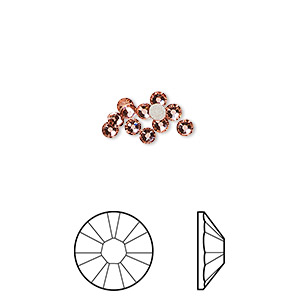 flat back, swarovski crystal rhinestone, crystal passions, rose peach, foil back, 2.5-2.7mm xilion rose (2058), ss9. sold per pkg of 12.