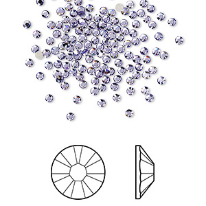 flat back, swarovski crystal rhinestone, crystal passions, tanzanite, foil back, 1.7-1.9mm xilion rose (2058), ss5. sold per pkg of 144 (1 gross).
