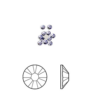 flat back, swarovski crystal rhinestone, crystal passions, tanzanite, foil back, 2.1-2.3mm xilion rose (2058), ss7. sold per pkg of 12.