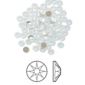 flat back, swarovski crystal rhinestone, crystal passions, white opal, foil back, 3-3.2mm xirius rose (2088), ss12. sold per pkg of 144 (1 gross).