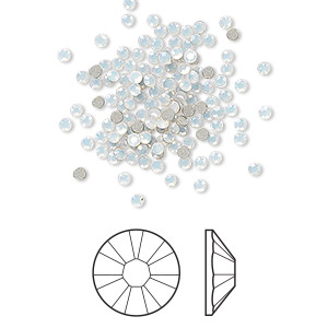 flat back, swarovski crystal rhinestone, crystal passions, white opal, foil back, 1.7-1.9mm xilion rose (2058), ss5. sold per pkg of 12.