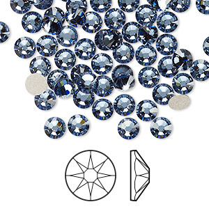 flat back, swarovski crystal rhinestone, denim blue, foil back, 4.6-4.8mm xirius rose (2088), ss20. sold per pkg of 1,440 (10 gross).