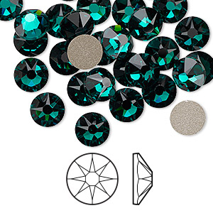 flat back, swarovski crystal rhinestone, emerald, foil back, 7.07-7.27mm xirius rose (2088), ss34. sold per pkg of 144 (1 gross).
