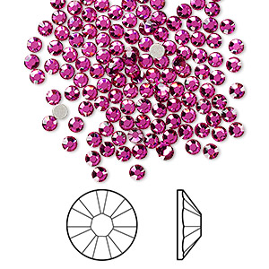 flat back, swarovski crystal rhinestone, fuchsia, foil back, 2.5-2.7mm xilion rose (2058), ss9. sold per pkg of 144 (1 gross).