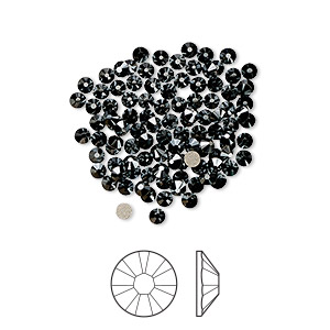 flat back, swarovski crystal rhinestone, jet hematite, foil back, 2.1-2.3mm xilion rose (2058), ss7. sold per pkg of 1,440 (10 gross).
