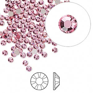 flat back, swarovski crystal rhinestone, light rose, foil back, 2.5-2.7mm xilion rose (2058), ss9. sold per pkg of 144 (1 gross).
