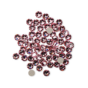 flat back, swarovski crystal rhinestone, light rose, foil back, 3-3.2mm xirius rose (2088), ss12. sold per pkg of 1,440 (10 gross).