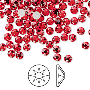 flat back, swarovski crystal rhinestone, light siam, foil back, 3.8-4mm xirius rose (2088), ss16. sold per pkg of 1,440 (10 gross).