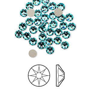 flat back, swarovski crystal rhinestone, light turquoise, foil back, 3.8-4mm xirius rose (2088), ss16. sold per pkg of 1,440 (10 gross).