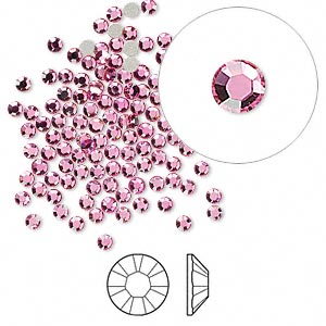 flat back, swarovski crystal rhinestone, rose, foil back, 2.1-2.3mm xilion rose (2058), ss7. sold per pkg of 144 (1 gross).