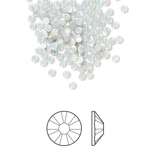 flat back, swarovski crystal rhinestone, white opal, foil back, 2.1-2.3mm xilion rose (2058), ss7. sold per pkg of 144 (1 gross).