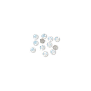 flat back, swarovski crystal rhinestone, white opal, foil back, 2.5-2.7mm xilion rose (2058), ss9. sold per pkg of 12.