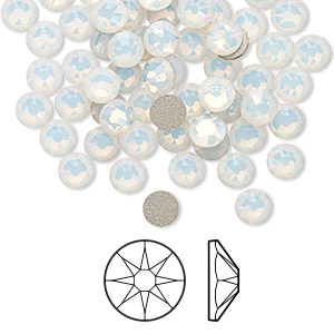 flat back, swarovski crystal rhinestone, white opal, foil back, 4.6-4.8mm xirius rose (2088), ss20. sold per pkg of 144 (1 gross).