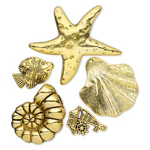 focal / bead / charm, antique gold-finished pewter (zinc-based alloy), 24x22mm-59x55mm single- and double-sided assorted sea life. sold per pkg of 5.
