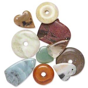 focal / component / drop mix, multi-gemstone (natural / dyed / man-made) and glass, mixed colors, 18x14mm-52mm mixed shape, c grade. sold per pkg of 10.