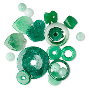 focal / drop / bead mix, green jade and green aventurine (dyed), 8x5mm-40x40mm mixed shape. sold per 1/4 pound pkg, approximately 20-40 pieces.