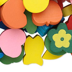 focal / drop / bead mix, painted wood, mixed colors, 9mm-60x50mm mixed shape. sold per 1/4 pound pkg, approximately 150 pieces.