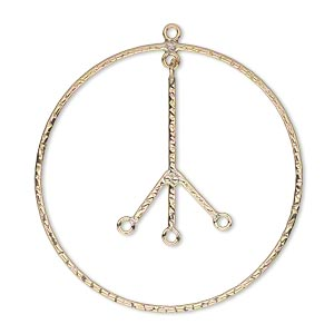 focal, 14kt gold-filled, 35mm hammered flat peace sign with 3 loops. sold individually.