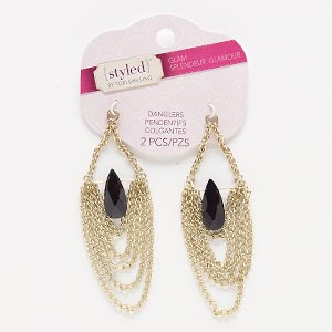 focal, acrylic and gold-finished steel, black, 3-1/2 x 1 inches with teardrop. sold per pkg of 2.