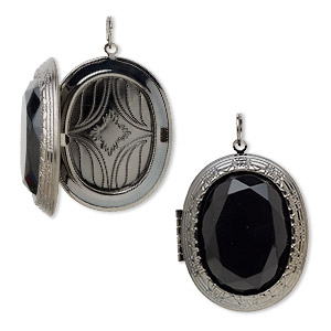 focal, acrylic with gunmetal-finished steel and pewter (zinc-based alloy), black, 47x40mm textured oval locket. sold individually.