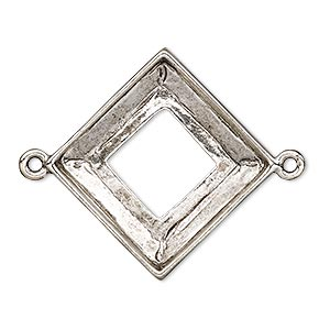 focal, almost instant jewelry, antique silver-plated pewter (tin-based alloy), 30.5x30.5mm open diamond with 20x20mm square ring setting. sold individually.
