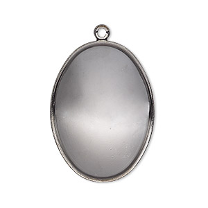 focal, almost instant jewelry, gunmetal-plated brass, 32x23.5mm oval with 30x22mm oval setting. sold per pkg of 2.