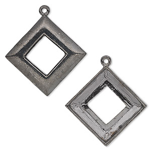 focal, almost instant jewelry, gunmetal-plated pewter (tin-based alloy), 30x30mm open diamond with 20x20mm square ring setting. sold individually.
