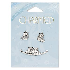 focal and charm, antique silver-finished pewter (zinc-based alloy), 36x12mm owls on a perch 2 loops and 13x12mm left- and right-facing owl. sold per 3-piece set.
