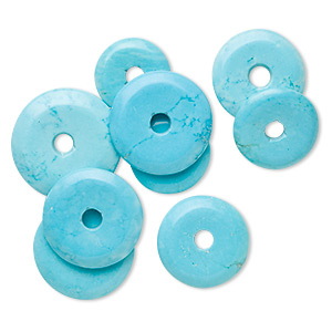 focal and component mix, magnesite (dyed / stabilized), blue, 20-40mm round donut, c grade, mohs hardness 3-1/2 to 4. sold per 100-gram pkg, approximately 5 pieces.