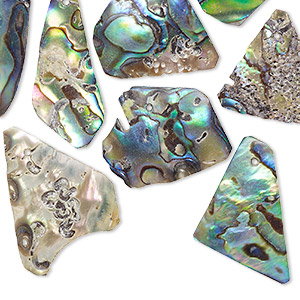 focal and drop, abalone shell (natural), 16x17mm-36x25mm freeform, mohs hardness 3-1/2. sold per 2-ounce pkg, approximately 40-50 pieces.