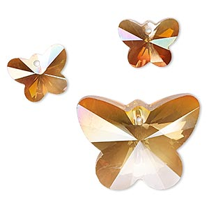 focal and drop, coated glass, rose blush, 15x12mm and 30x28mm faceted butterfly. sold per 3-piece set.