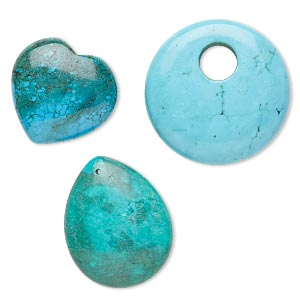focal and drop mix, magnesite (dyed / stabilized), mixed colors, 20x20mm-45x35mm heart / teardrop / go-go, mohs hardness 3-1/2 to 4. sold per pkg of 3.