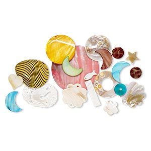 focal and drop mix, multi-shell and resin (natural / bleached / dyed / coated / assembled), mixed colors, 10x8mm-80x80mm mixed shape. sold per pkg of 20.