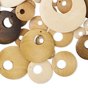 focal and drop mix, wood (natural / dyed), light brown / medium brown / dark brown, 15-54mm round go-go. sold per pkg of 50.