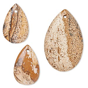 focal and drop, picture jasper (natural), (2) 20x13mm and (1) 31x20mm hand-cut teardrop, b grade, mohs hardness 6-1/2 to 7. sold per 3-piece set.