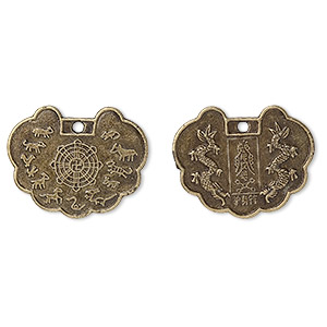 focal, antique brass-plated pewter (zinc-based alloy), 30x23mm chinese zodiac protective talisman. sold per pkg of 50.