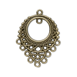 focal, antique brass-plated pewter (zinc-based alloy), 33x25mm single-sided filigree teardrop, 10 loops. sold per pkg of 20.