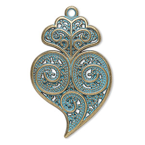 focal, antique copper-finished pewter (zinc-based alloy), green patina, 37x25mm single-sided fancy heart. sold per pkg of 4.