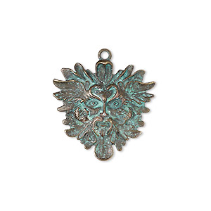 focal, antique copper-finished pewter (zinc-based alloy), verdigris, 42.5x42.5mm single-sided green man. sold individually.