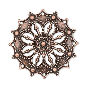 focal, antique copper-plated brass, 34x34mm filigree flower. sold per pkg of 10.