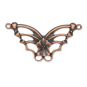 focal, antique copper-plated steel, 33x19mm single-sided fancy butterfly. sold per pkg of 24.