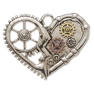 focal, antique gold- / copper- / silver-finished pewter (zinc-based alloy), 2 x 1-1/2 inch single-sided gear heart. sold individually.