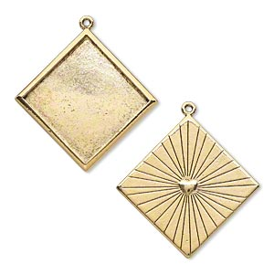 focal, antique gold-plated pewter (tin-based alloy), 46x46mm double-sided flat diamond with 40.5x40.5mm diamond setting/heart and line design. sold individually.