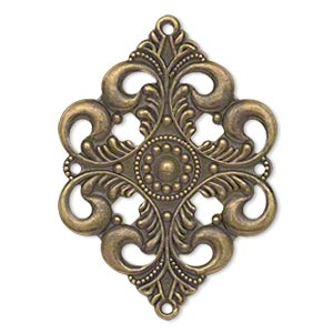 focal, antique gold-plated steel, 42x30mm single-sided filigree diamond, 4 loops. sold per pkg of 10.