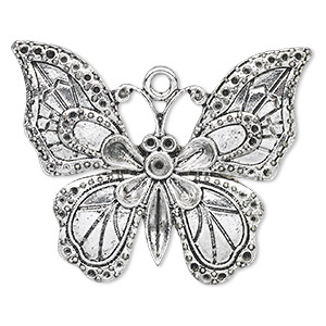 focal, antique silver-finished pewter (zinc-based alloy), 51x41mm single-sided butterfly with (1) pp32, (2) pp15 and (40) pp6 settings. sold per pkg of 2.